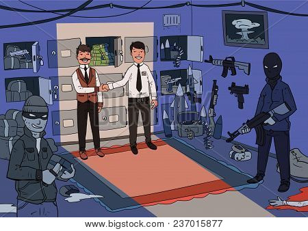 Smiling Businessmen And Masked Criminals Make Deal In Dark Room Full Of Weapons And Drugs. Criminal