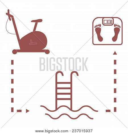Nice Picture Of The Sport Lifestyle: Exercise Bike, Swimming Pool And Scales On A White Background