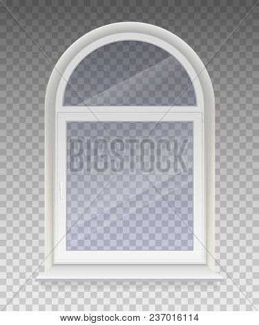 Closed Arched Window With Transparent Glass In A White Frame. Isolated On A Transparent Background.