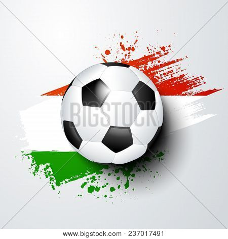 Football World Or European Championship With Ball And Hungary Flag Colors.