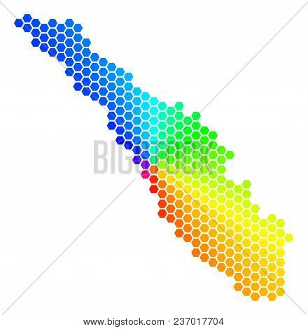 Hexagon Spectrum Sumatra Island Map. Vector Geographic Map In Rainbow Colors On A White Background.
