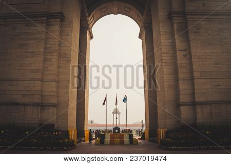 New Delhi, India, January 27, 2018 : Canopy And India Gate. Air Force, Indian Navy And Indian Army F
