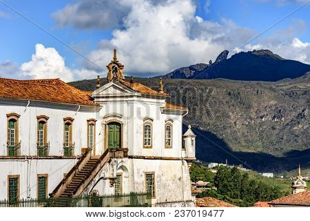 Top View Of Historic Ouro Preto City In Minas Gerais, Brazil With Its Famous Churches And Old Buildi