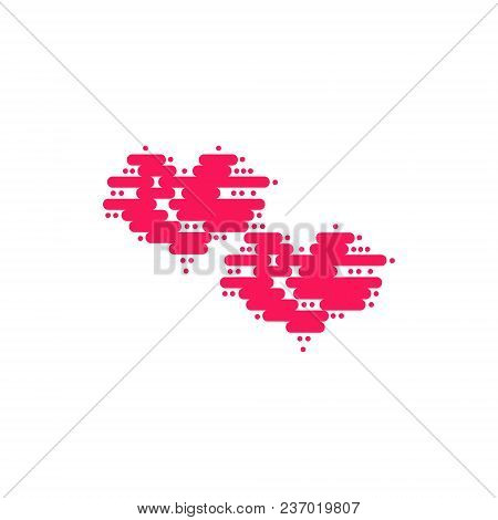 Two Heart Of Floating Clouds. Heart Icon, Modern Minimal Flat Design Style. Vector Illustration Isol
