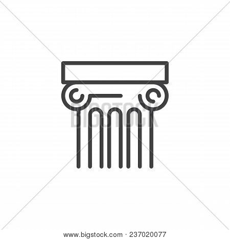Ancient Column Outline Icon. Linear Style Sign For Mobile Concept And Web Design. Architecture Simpl