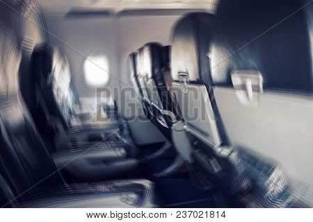Aerophobias Concept. Blurred Image Of Commercial Plane Moving Fast Downwards. Fear Of Flying. Collap