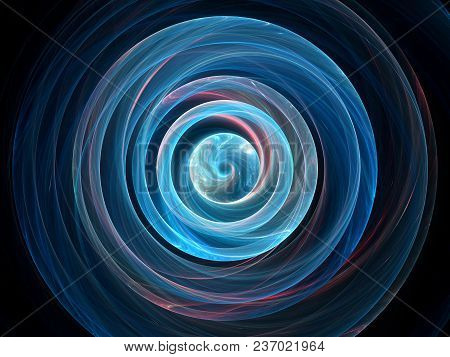 Blue Glowing Wavy Spin In Space, Gravitational Waves, Computer Generated Abstract Background, 3d Ren
