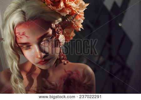 Young Beautiful Girl Elf. Creative Make-up And Bodyart. Mysterious Portrait