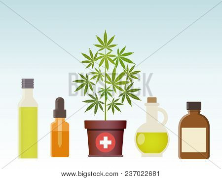 Marijuana Plant And Cannabis Oil. Medical Marijuana. Hemp Oil N A Glass Jar. Cbd Oil Hemp Products.