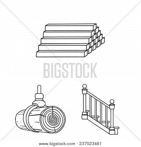 Sawmill And Timber Outline Icons In Set Collection For Design. Hardware And Tools Vector Symbol Stoc