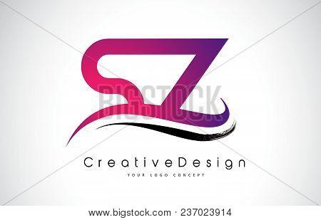 Sz S Z Letter Logo Design In Black Colors. Creative Modern Letters Vector Icon Logo Illustration.