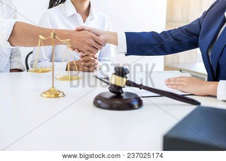 Handshake After Good Cooperation Greeting, Having Meeting With Team At Law Firm, Consultation Betwee