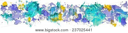 Long Border Of Gouache Watercolor Hand Drawn Paper Color Stains Isolated On A White Background As An