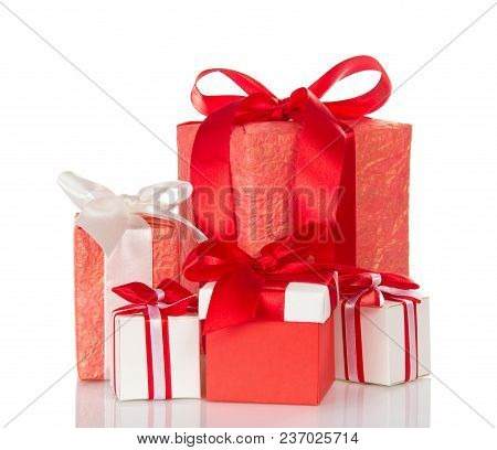 Many Different Gift Boxes Decorated With Ribbons And Bow Isolated On White Background