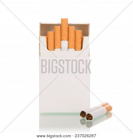 Pack Of Cigarettes, Two Cigarettes Lie Side By Side, Isolated On White Background