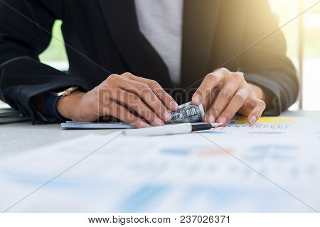 Money In Human Hands Form Of Dollar Bills, Business Woman Is Counting Money.