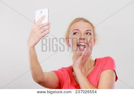 Technology, Modern Photography, Confidence Conept. Happy Attractive Adult Blonde Woman Taking Pictur