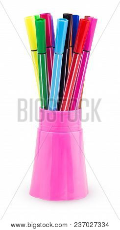 A Set Of Colored Felt-tip Pens In A Pink Plastic Cup Isolated On White Background