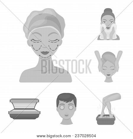 Skin Care Monochrome Icons In Set Collection For Design. Face And Body Vector Symbol Stock  Illustra