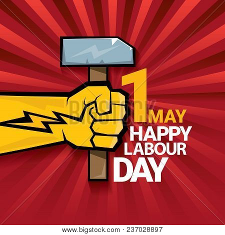 Happy Labour Day Vector Label With Strong Orange Fist On Red Background With Rays. Labor Day Backgro