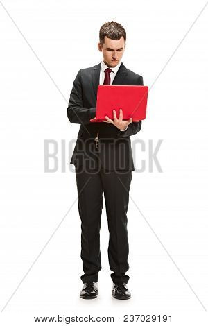 Full Body Or Full-length Portrait Of Businessman Or Diplomat On White Studio Background. Serious You