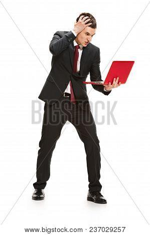 Full Body Or Full-length Portrait Of Angry Businessman Or Diplomat On White Studio Background. Serio