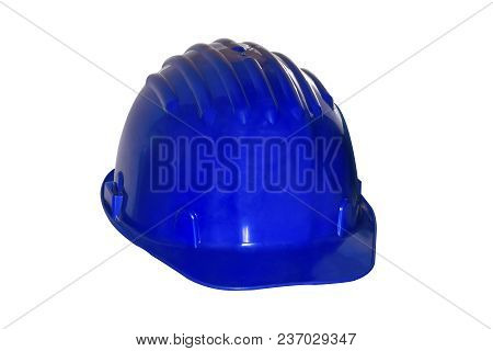 Blue Construction Of A Chelmet Close-up Isolated On A White Background