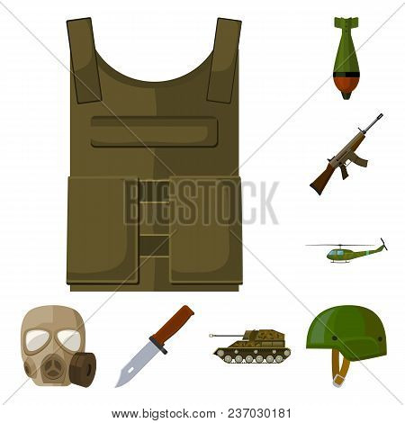 Army And Armament Cartoon Icons In Set Collection For Design. Weapons And Equipment Vector Symbol St