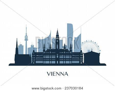 Vienna Skyline, Monochrome Silhouette. Design Vector Illustration.