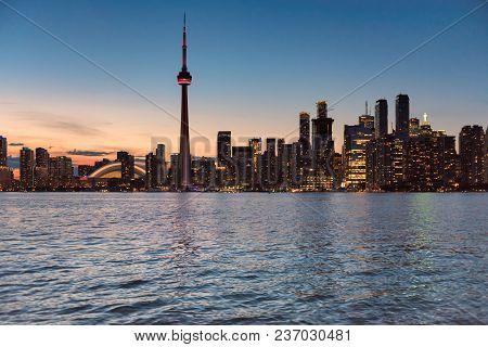 Toronto Skyline At Beautiful Evening, Toronto, Ontario, Canada.