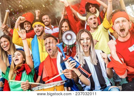 Football Supporter Fans Friends Cheering And Watching Soccer Cup Match At Intenational Stadium - You