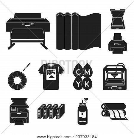 Typographical Products Black Icons In Set Collection For Design. Printing And Equipment Vector Symbo