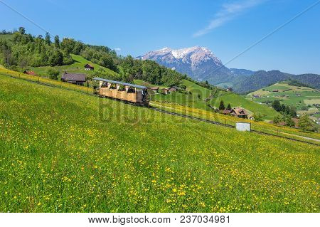 Mt. Stanserhorn, Switzerland - 8 May, 2016: Springtime View From The Foot Of Mt. Stanserhorn, People