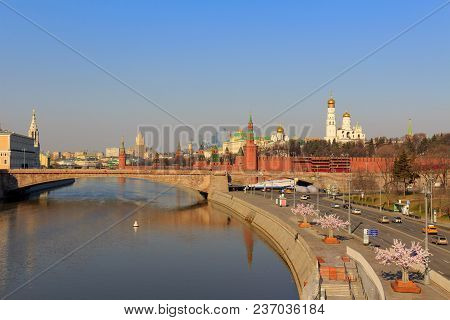 View Of The Moscow Kremlin And Moskva River Embankment On A Sunny Spring Morning