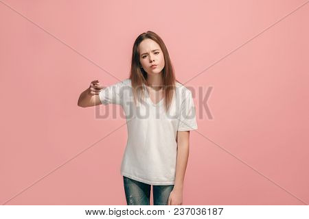I Choose You And Order. The Smiling Teen Girl Pointing To Camera, Half Length Closeup Portrait On Pi