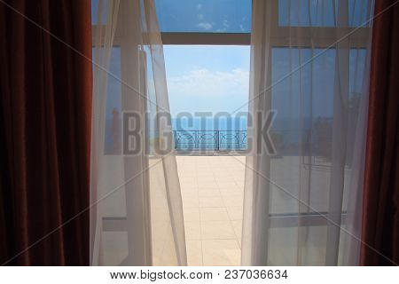 View Of The Sea From A Hotel Room In The Summer