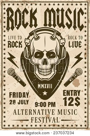 Rock Music Festival Invitation Vector Poster In Retro Style With Devil Skull Listening Music In Head