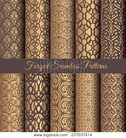 Luxury Seamless Patterns Collection. Golden Vintage Design Elements. Elegant Weave Ornament For Wall