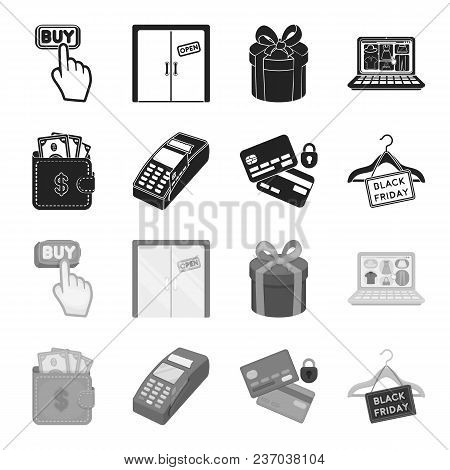 Purse, Money, Touch, Hanger And Other Equipment. E Commerce Set Collection Icons In Black, Monochrom