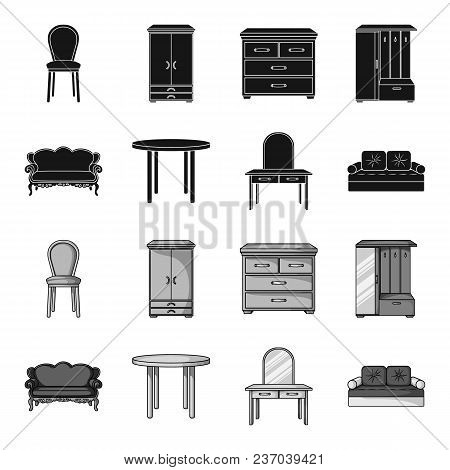Sofa, Armchair, Table, Mirror .furniture And Home Interiorset Collection Icons In Black, Monochrome