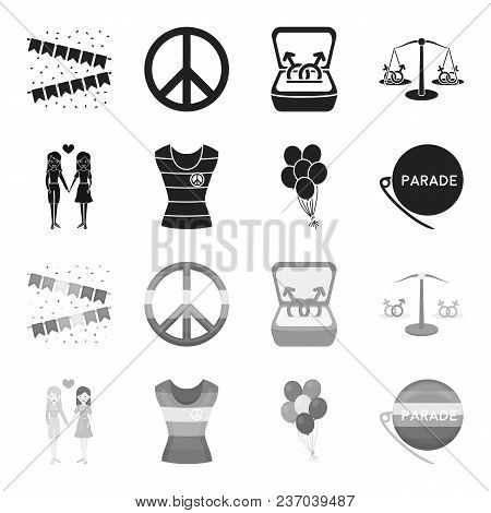 Lesbians, Dress, Balls, Gay Parade. Gay Set Collection Icons In Black, Monochrome Style Vector Symbo