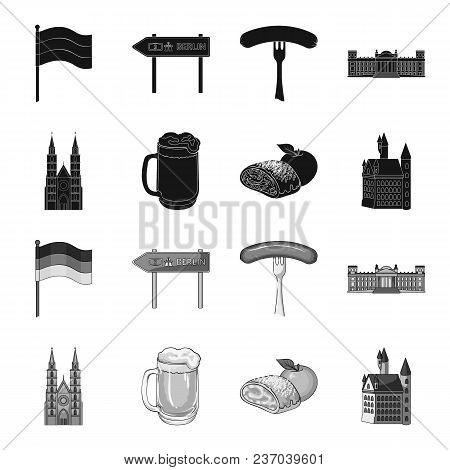Country Germany Black, Monochrome Icons In Set Collection For Design. Germany And Landmark Vector Sy