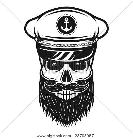 Captain Skull In Hat With Beard And Mustache Vector Illustration In Vintage Monochrome Style Isolate