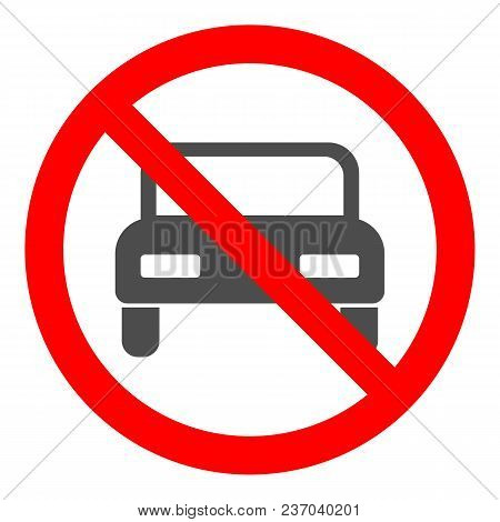 No Cars Allowed Round Crossed Out Sign. Vector Icon.