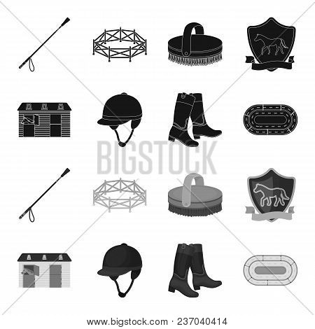 Boots, Grass, Stadium, Track, Rest .hippodrome And Horse Set Collection Icons In Black, Monochrome S
