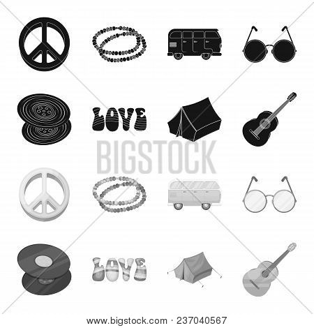 Vinyl Discs, Guitar, Tent.hippy Set Collection Icons In Black, Monochrome Style Vector Symbol Stock