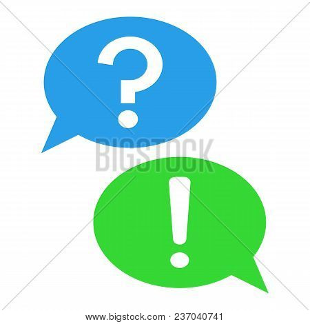 Answer And Question Buttons. Question Mark And Exclamation Point In Speech Bubble. Vector Icon.