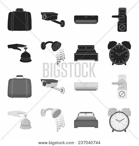 Call At The Reception, Alarm Clock, Bed, Shower.hotel Set Collection Icons In Black, Monochrome Styl