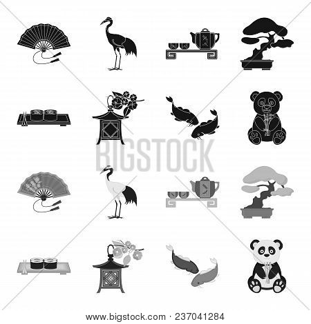 Sushi, Koi Fish, Japanese Lantern, Panda.japan Set Collection Icons In Black, Monochrome Style Vecto
