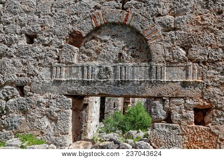 Wall With Passageway. Ancient Ruins Of , Appolonia In Antalia, Turkey